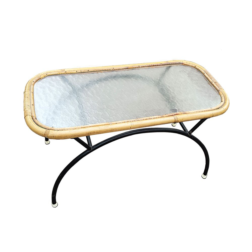 Small Bamboo and Frosted Glass Coffee Table from Roh Noordwolde