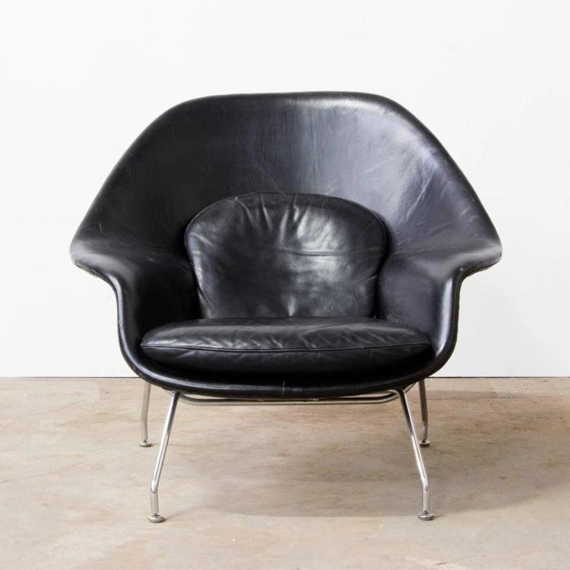 Black leather womb chair ottoman by eero saarinen for knoll 1960s for sale at pamono - Vintage womb chair for sale ...
