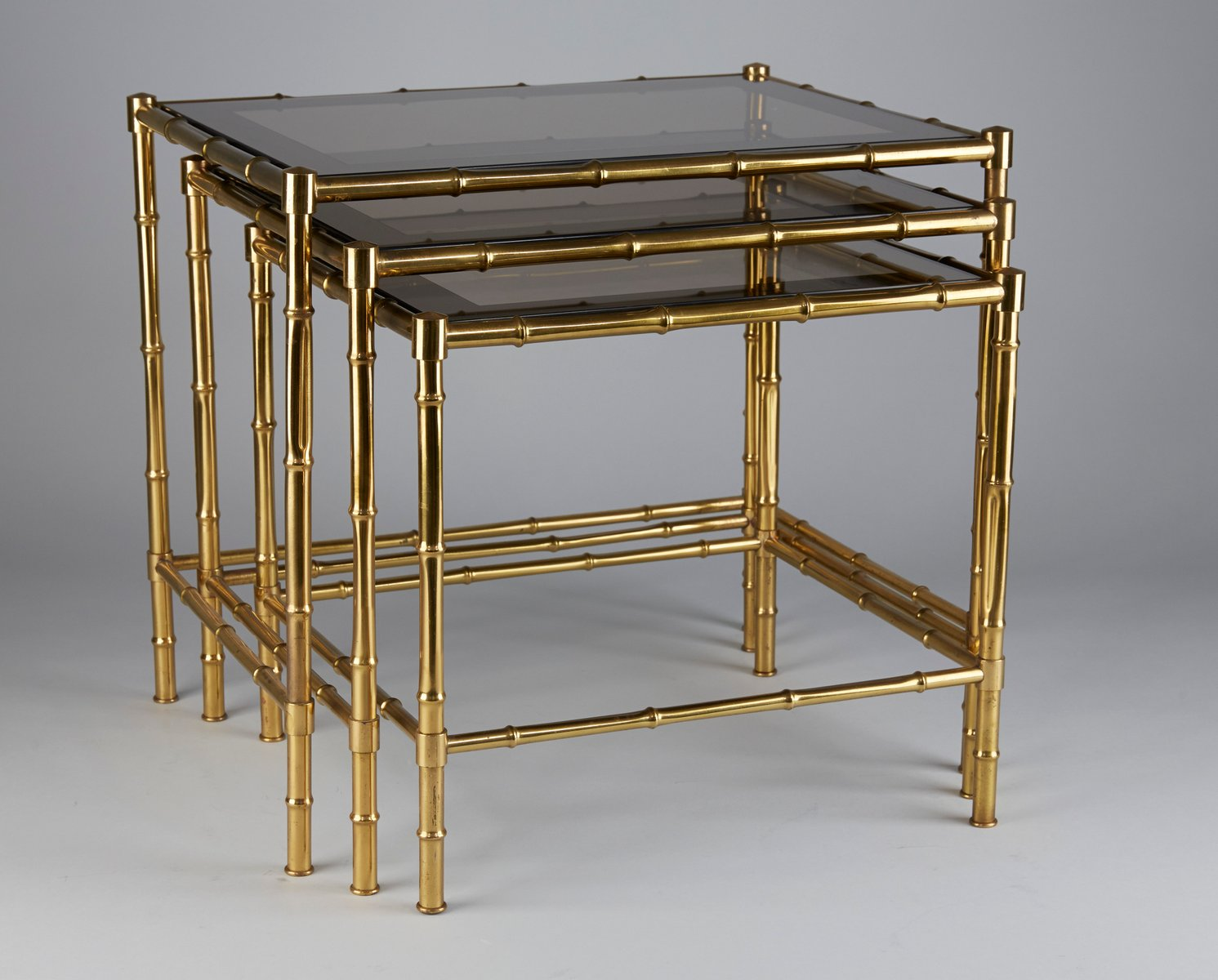 brass faux bamboo nesting tables s for sale at pamono -