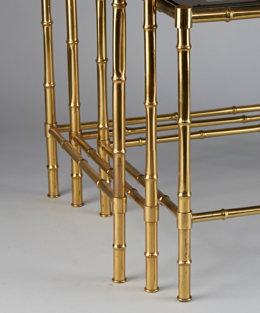 brass faux bamboo nesting tables s for sale at pamono - brass faux bamboo nesting tables s