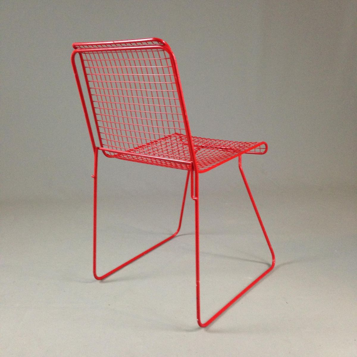 Red lacquered metal chair 1980s for sale at pamono for 1980s chair