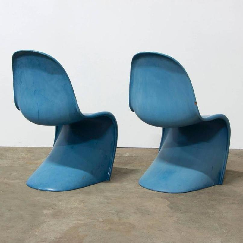 blauer stuhl von verner panton f r herman miller 1970er bei pamono kaufen. Black Bedroom Furniture Sets. Home Design Ideas