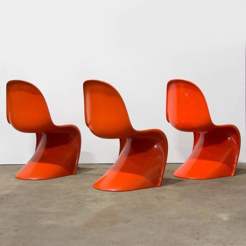 orangenfarbener stuhl von verner panton f r herman miller 1970er bei pamono kaufen. Black Bedroom Furniture Sets. Home Design Ideas