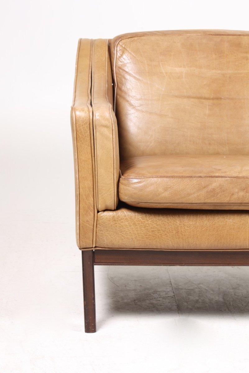 Vintage Danish Three Seater Tan Leather Sofa, 1970s