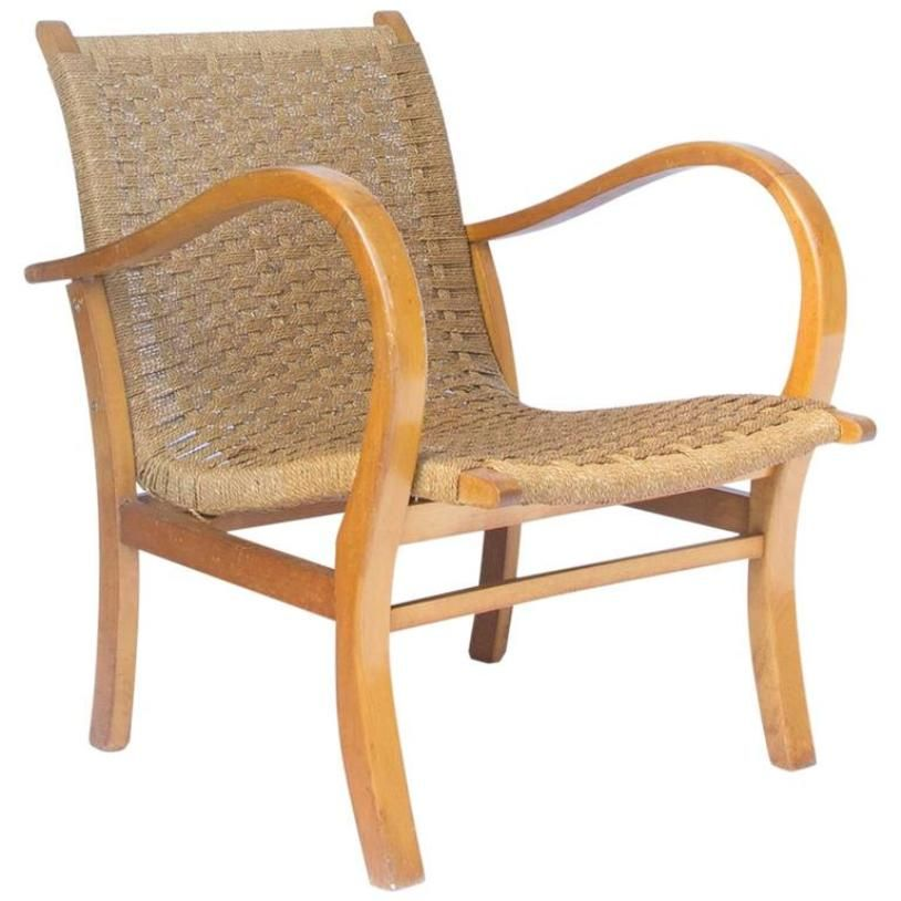 Easy chair in wood and rope from v d 1960s for sale at pamono for Dutch design chair uk