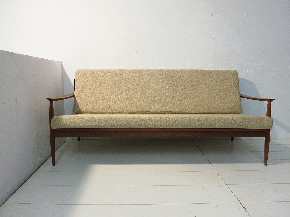 vintage three seater teak rattan sofa by carl straub for goldfeder for sale at pamono. Black Bedroom Furniture Sets. Home Design Ideas