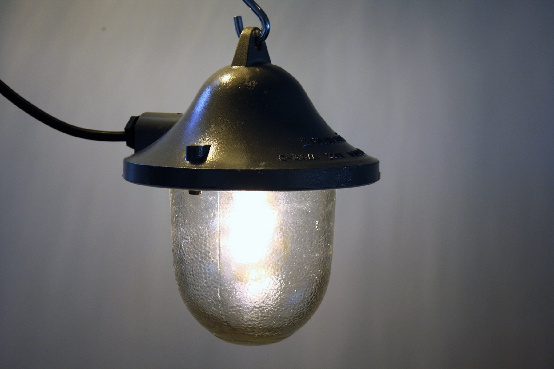 Small Cast Iron Industrial Lamp with Glass from Polamp, 1960s