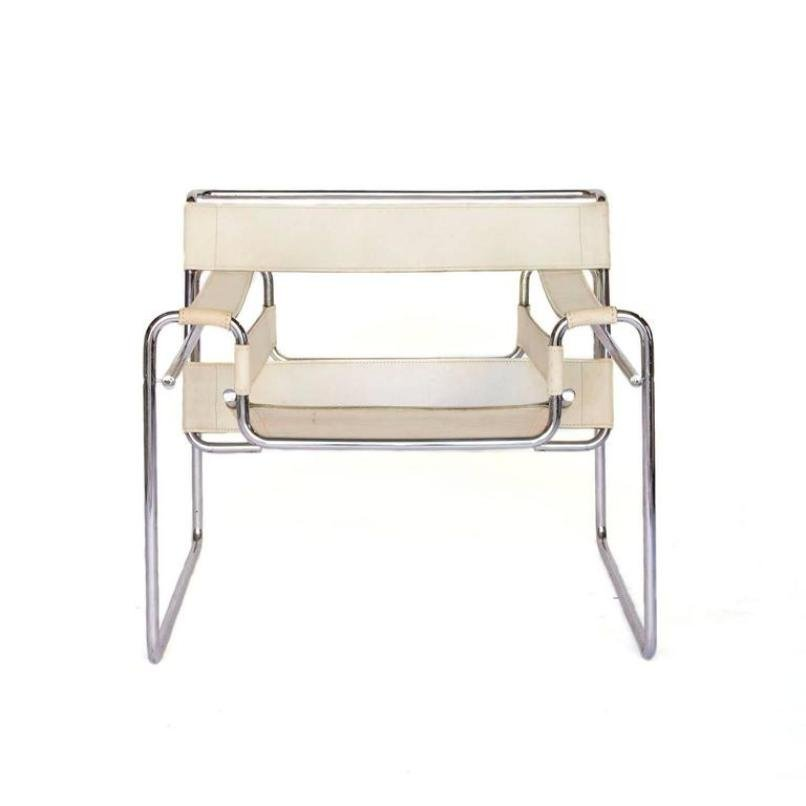 Vintage White Leather Wassily Chair By Marcel Breuer For Knoll For Sale At Pamono