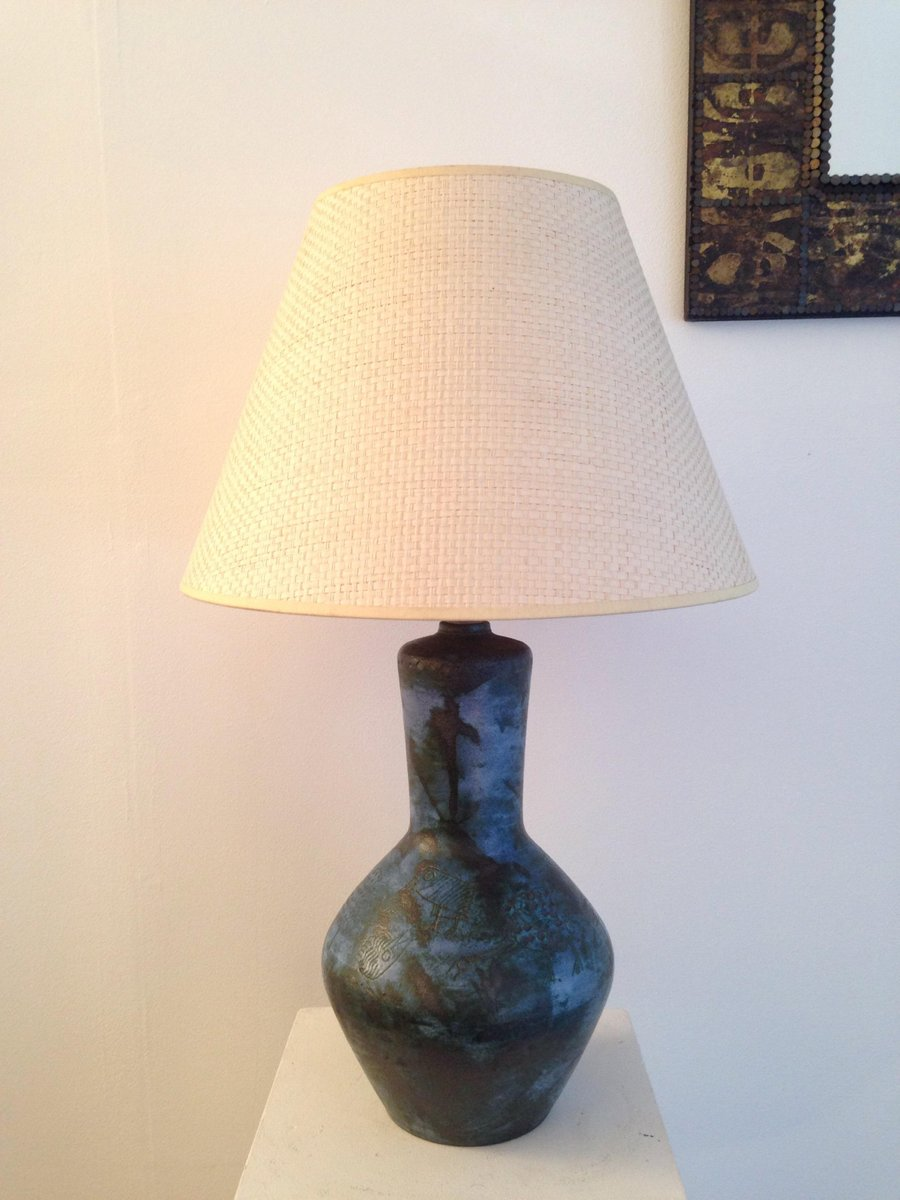 Vintage Large Ceramic Lamp with Birds by Jacques Blin for sale at ...