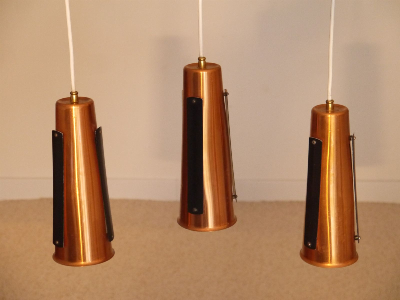 Danish copper and teak suspension lamp 1960s for sale at for Suspension 4 lampes