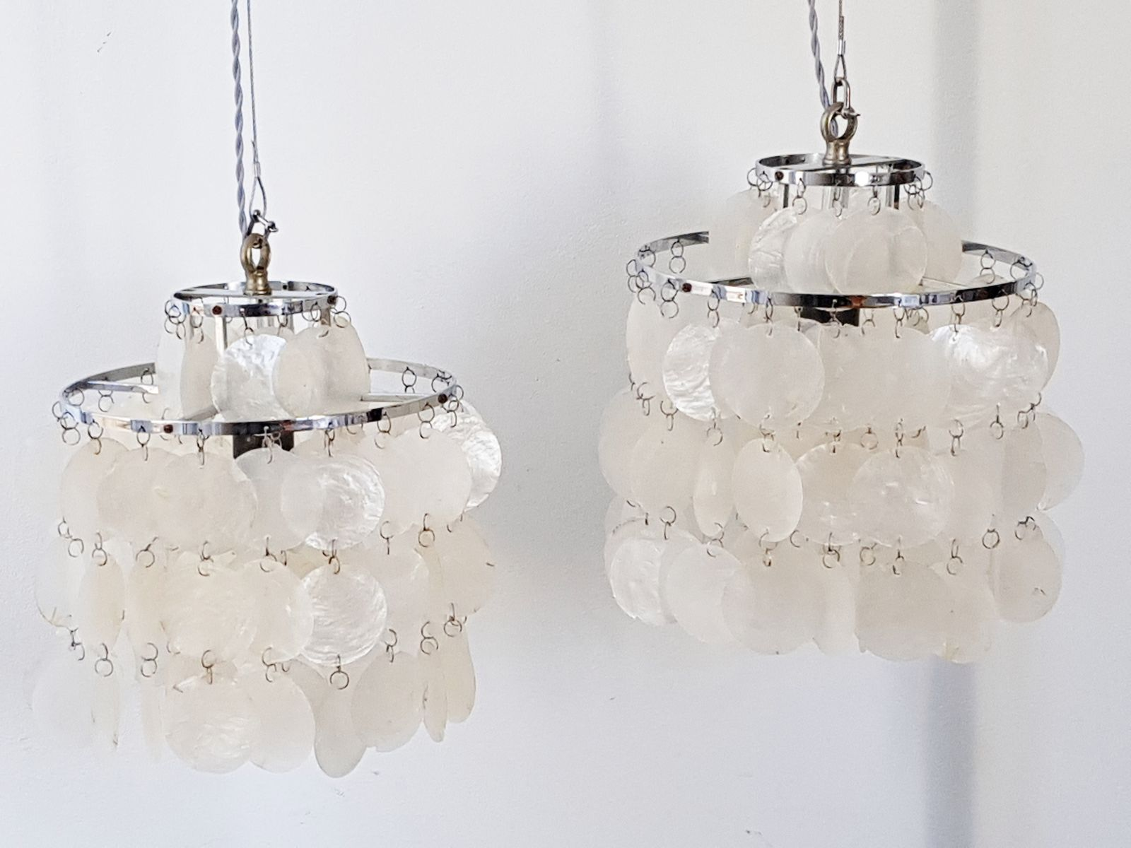Mother Of Pearl And Chrome Plated Chandelier, 1970s