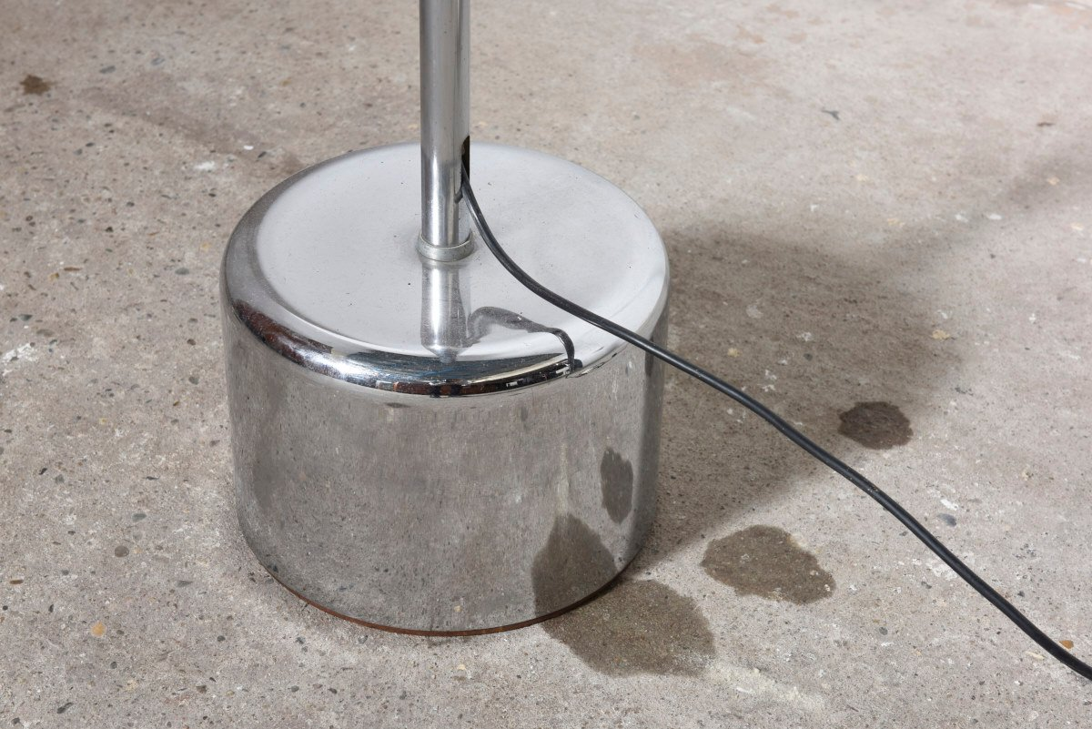 midcentury chromed metal arc floor lamp from gepo 1960s