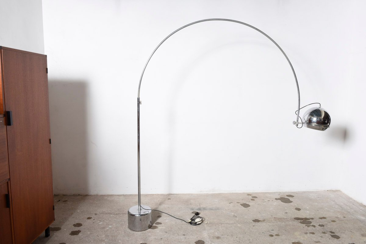 midcentury chromed metal arc floor lamp from gepo 1960s - Arched Floor Lamp