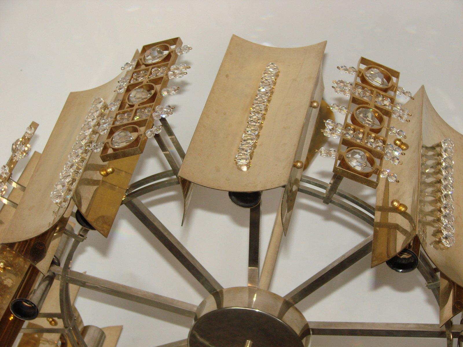 messing kristallglas kronleuchter 1970er bei pamono kaufen. Black Bedroom Furniture Sets. Home Design Ideas