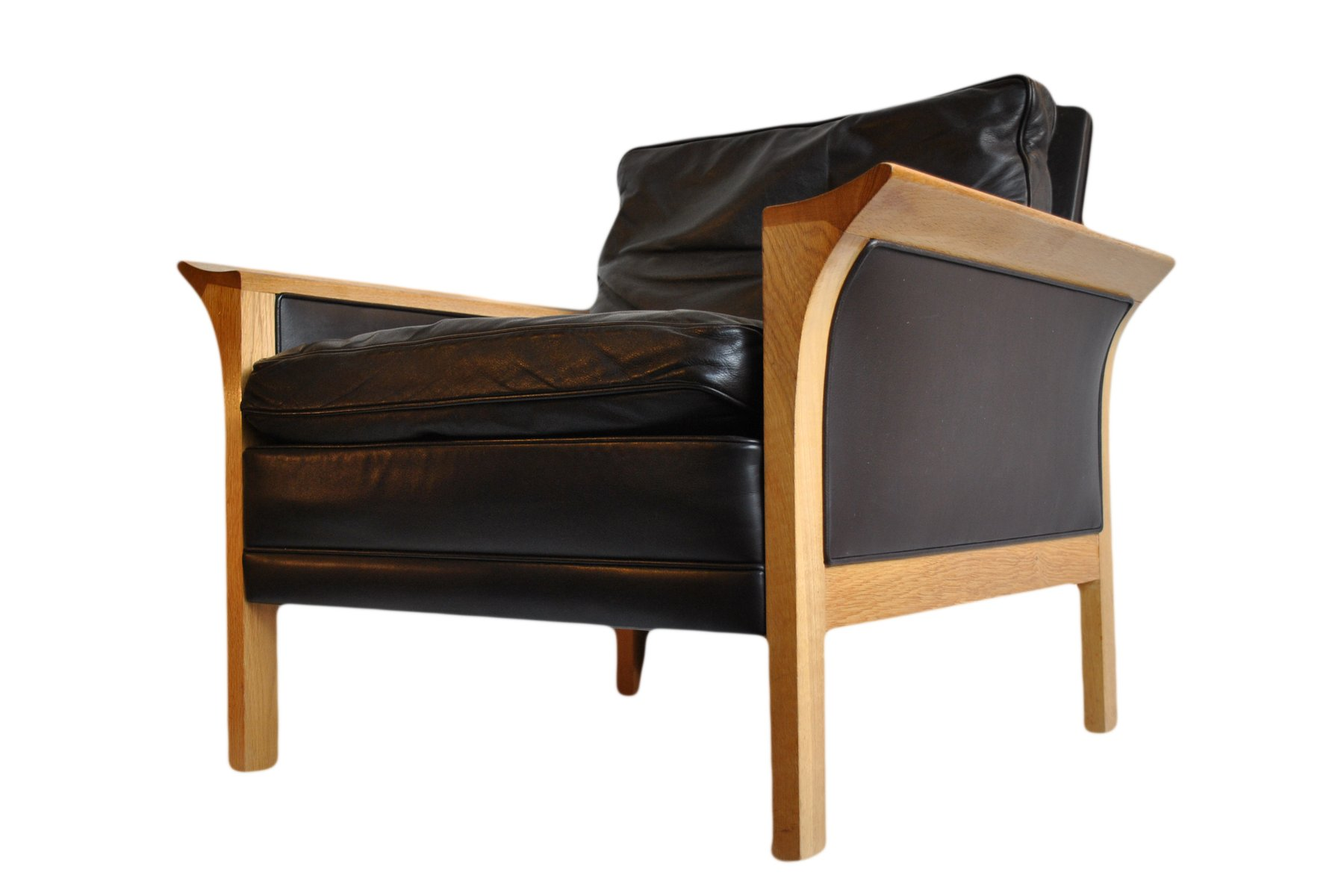 Model 400 Oak And Leather Lounge Chair By Hans Olsen For CS Mobelfabrik,  1966