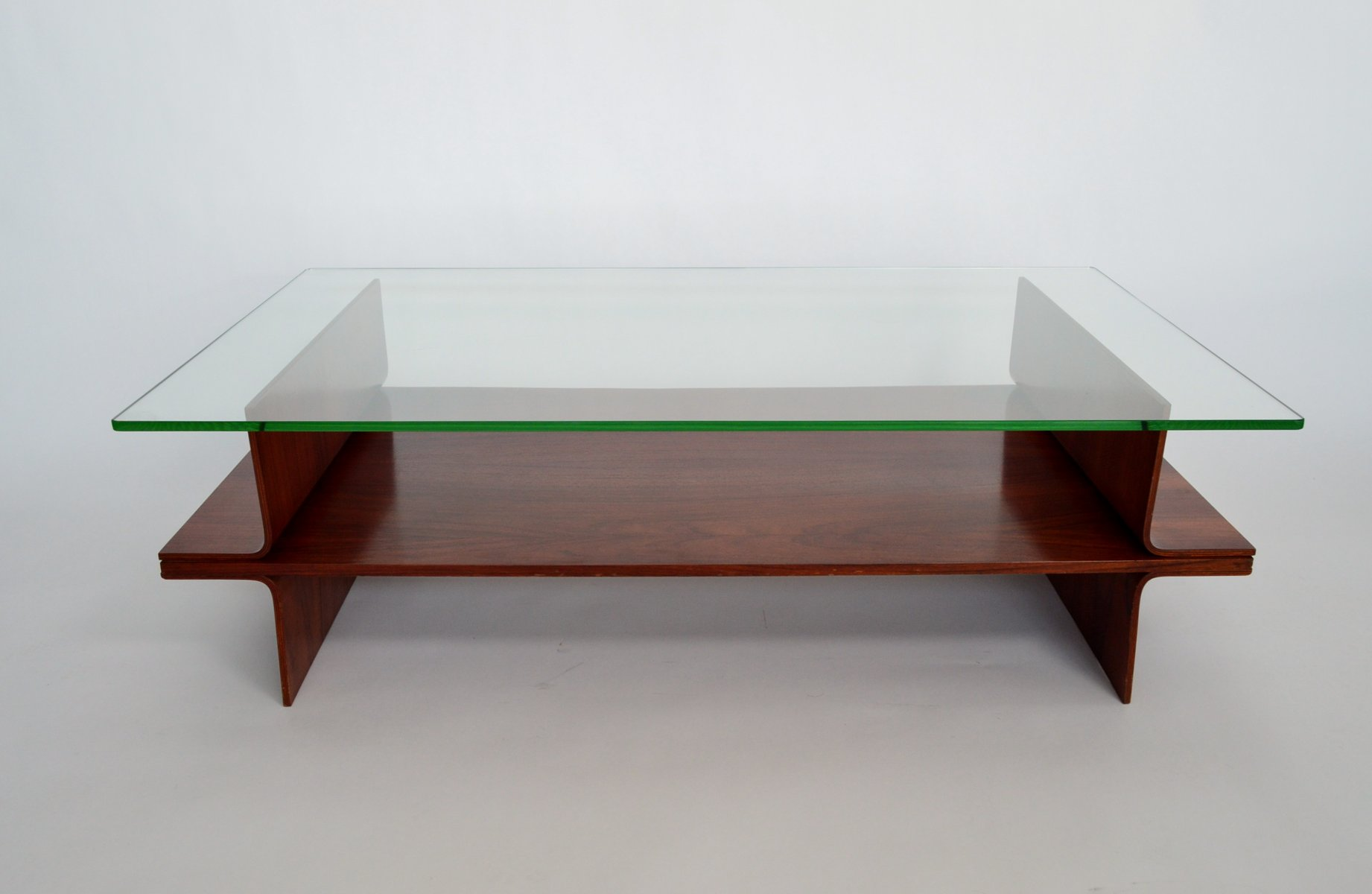 Italian Mahogany Plywood and Glass Coffee Table 1960s for sale
