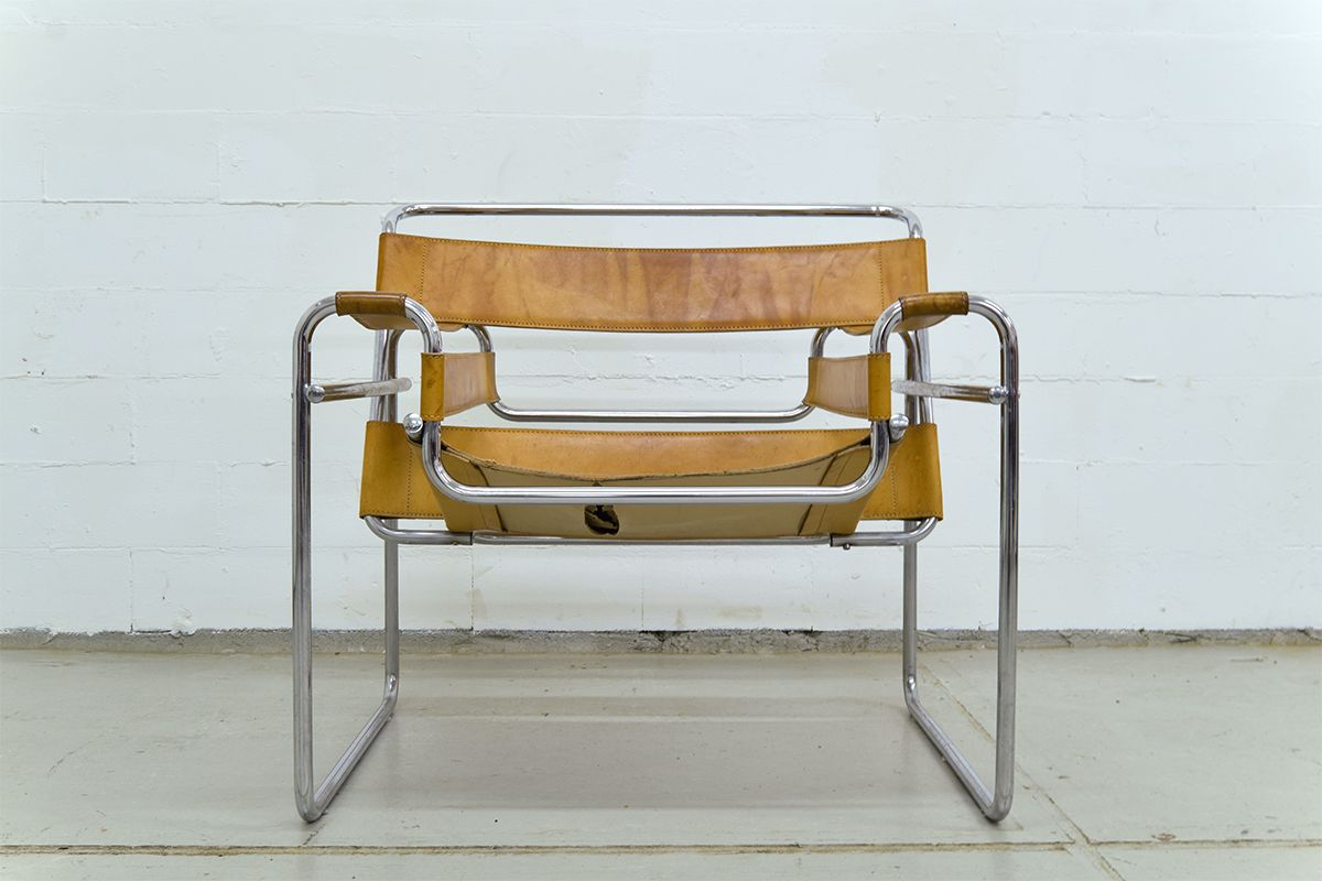 Cognac Leather Wassily Chair By Marcel Breuer For Gavina For Sale At Pamono