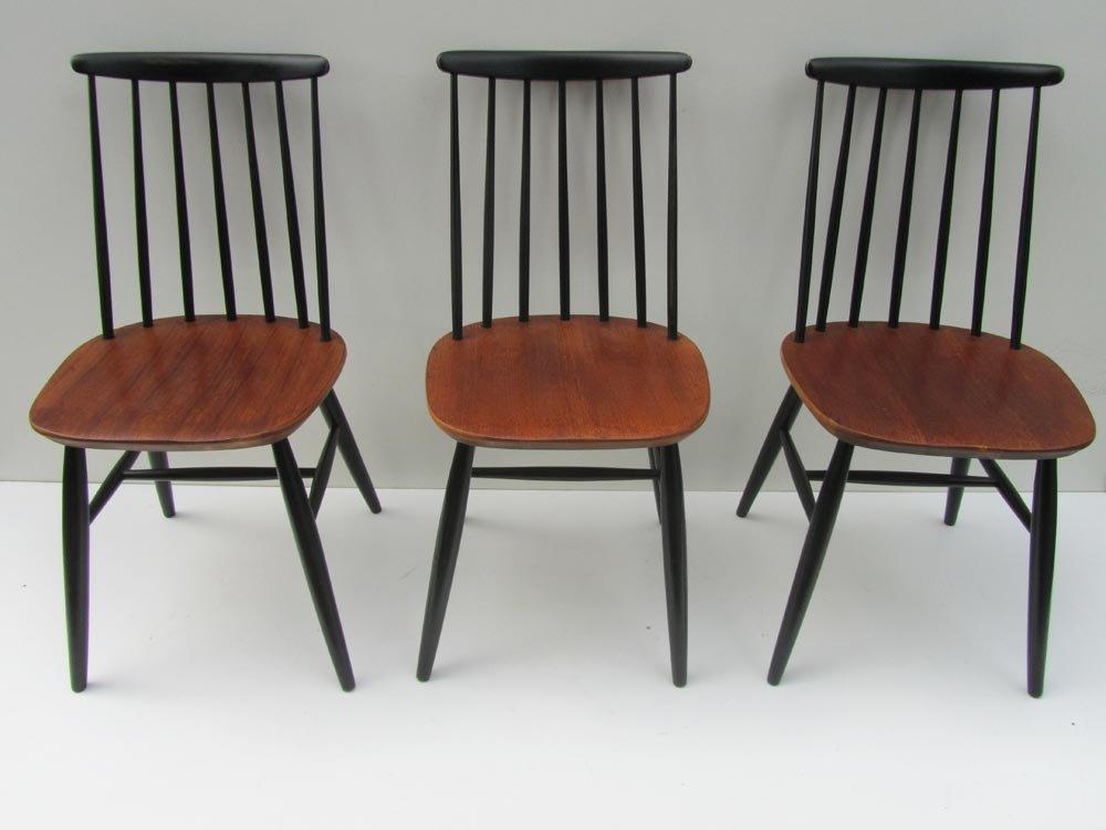 skandinavische holzspeichen st hle 1950er 3er set bei. Black Bedroom Furniture Sets. Home Design Ideas