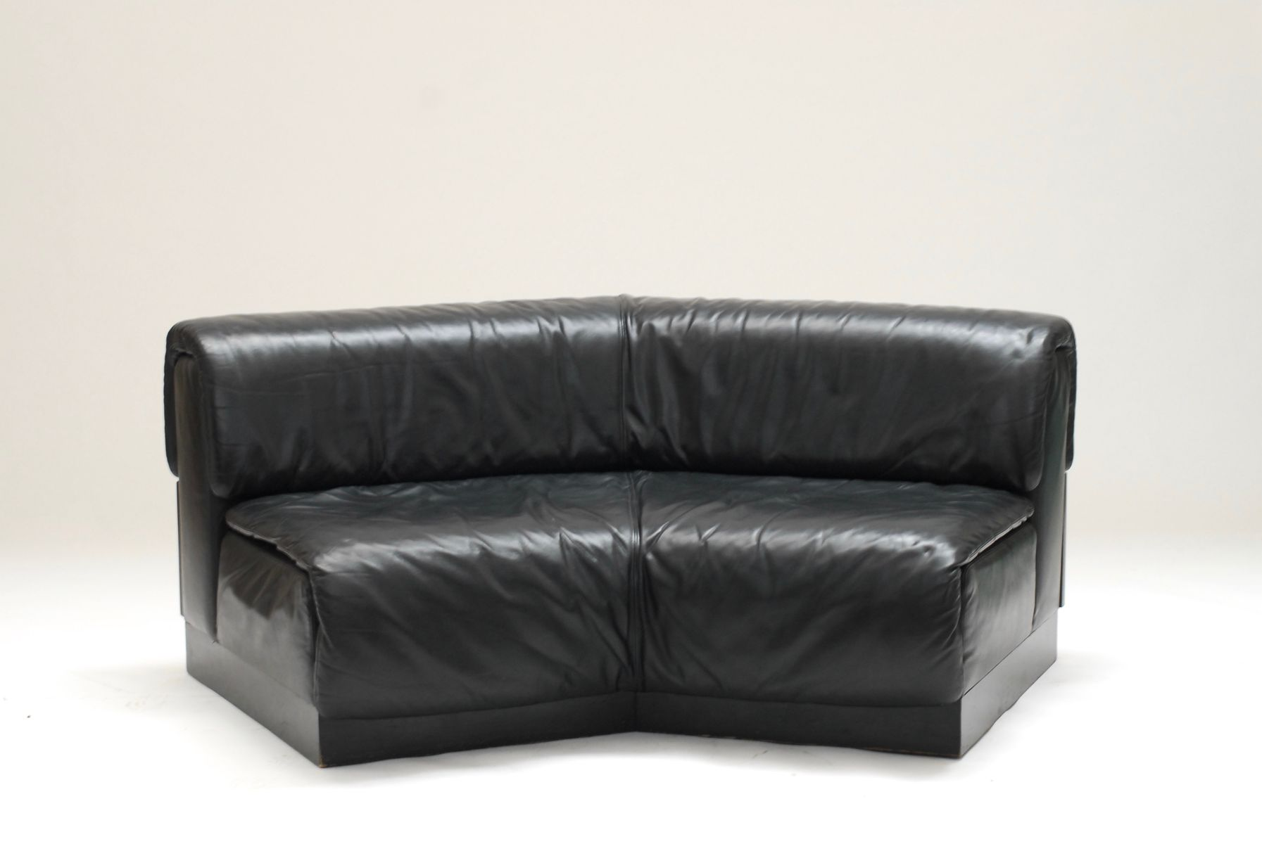 Large Curved Low Leather Sofa 1970s For Sale At Pamono