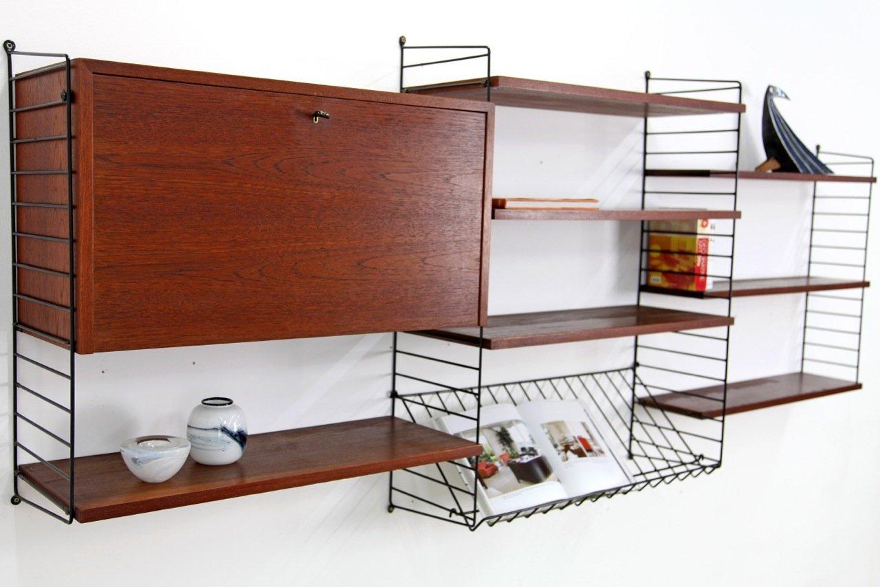 mid century modern wall unit shelf by nisse strinning for. Black Bedroom Furniture Sets. Home Design Ideas