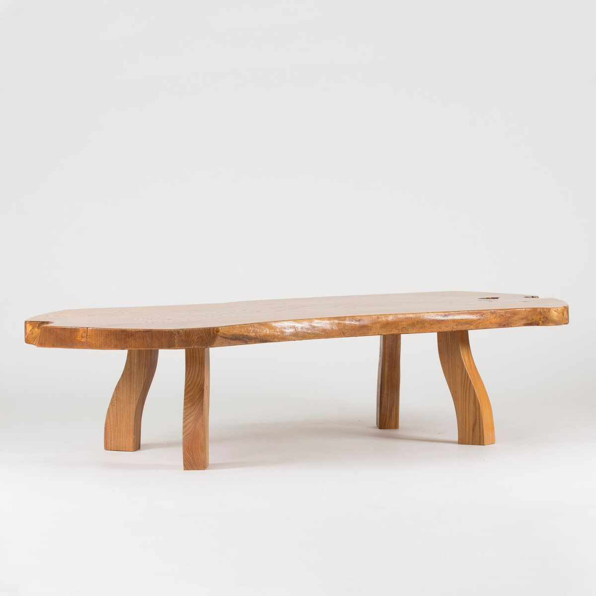 Slab Coffee Table: Pine Slab Coffee Table By C.A. Beijbom, 1960s For Sale At