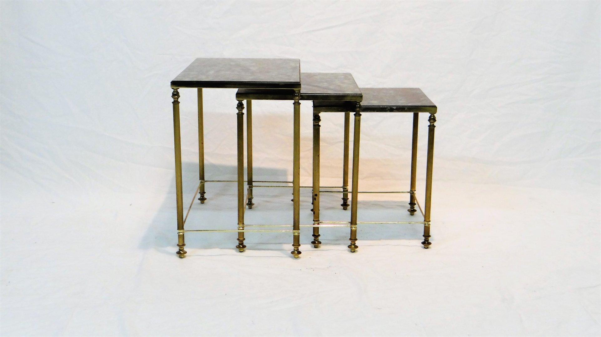 Tavolini a incastro vintage in ottone con vetro francia - Tavolini vetro e ottone ...