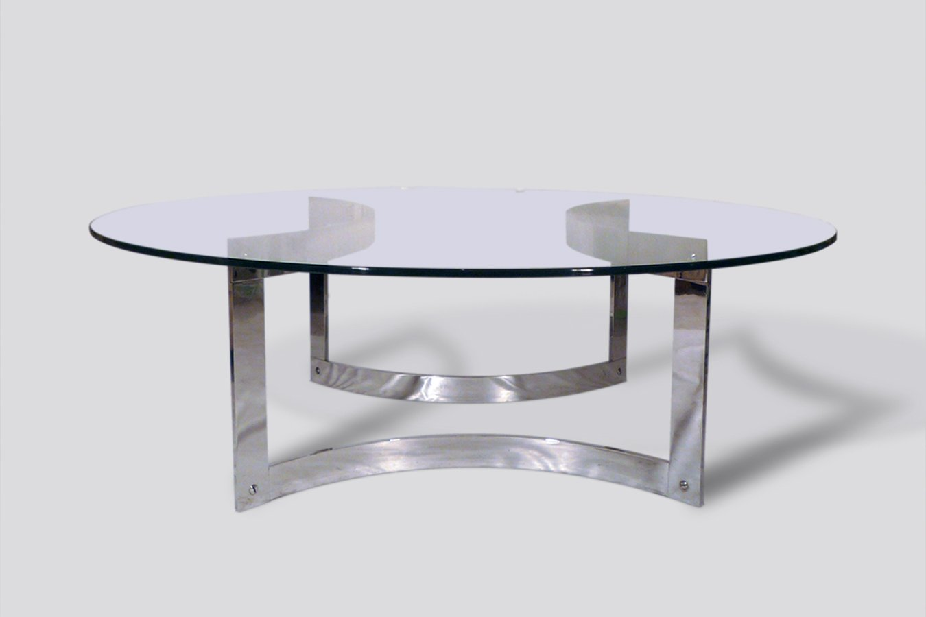 Round Chrome And Glass Coffee Table 1970s For Sale At Pamono