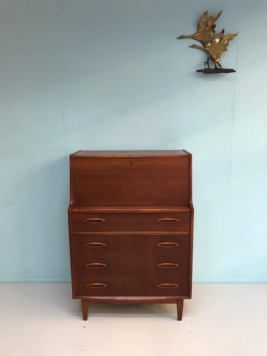 vintage secretaire in teak 1960s for sale at pamono. Black Bedroom Furniture Sets. Home Design Ideas