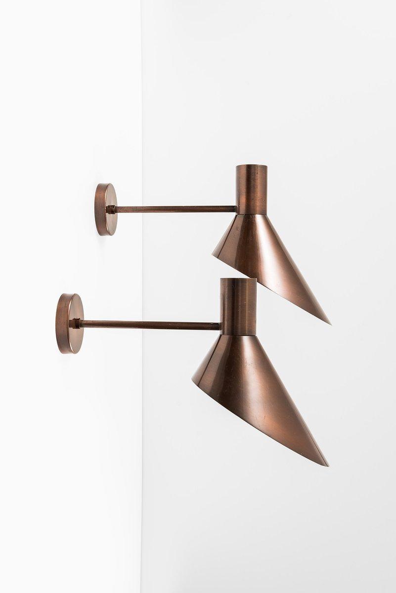 wandlampe mit lampenschirm aus kupfer 1960er bei pamono kaufen. Black Bedroom Furniture Sets. Home Design Ideas