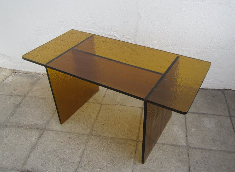 Vintage Saffron Yellow Glass Coffee Table For Sale At Pamono