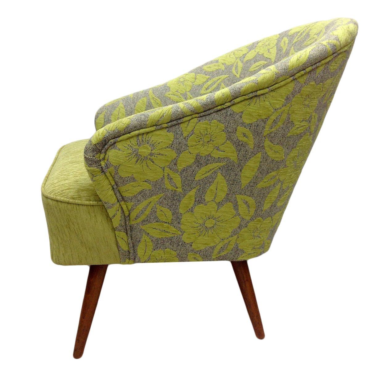 gr ner floraler sessel 1960er bei pamono kaufen. Black Bedroom Furniture Sets. Home Design Ideas