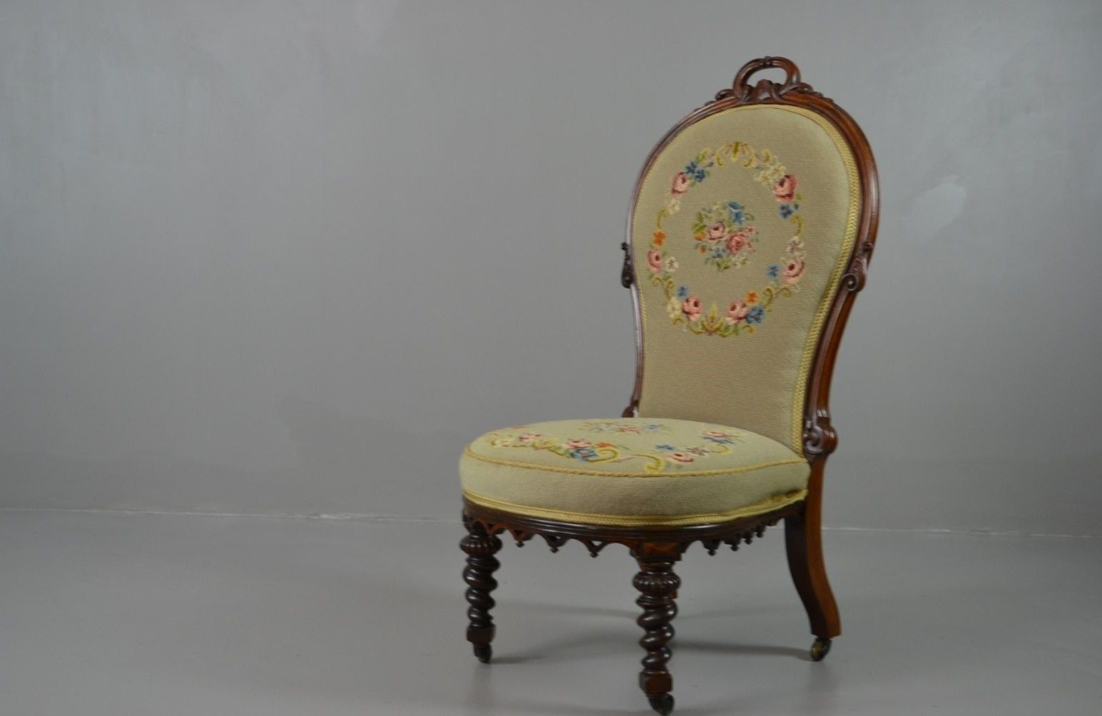 victorian rosewood floral needlework nursing chair - Nursing Chair