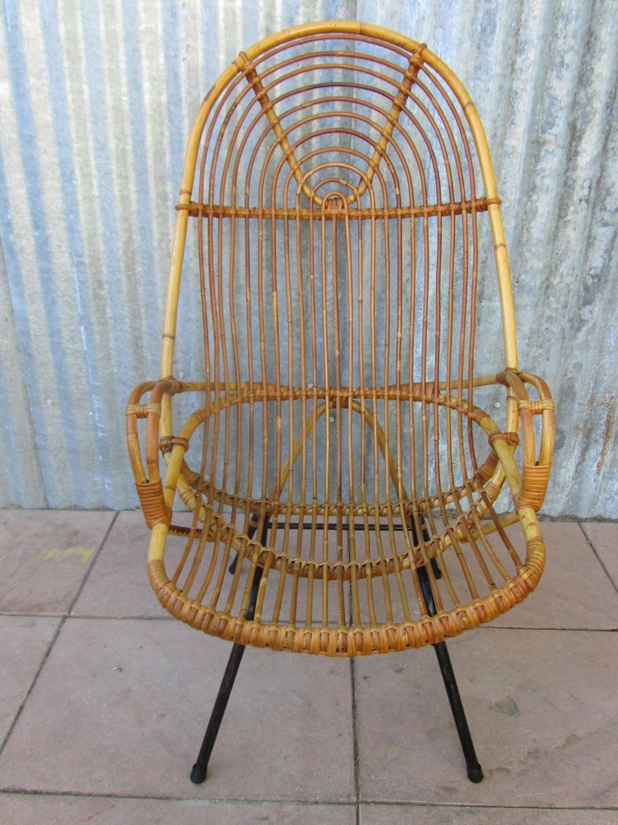 mid century rattan high back chair for sale at pamono. Black Bedroom Furniture Sets. Home Design Ideas