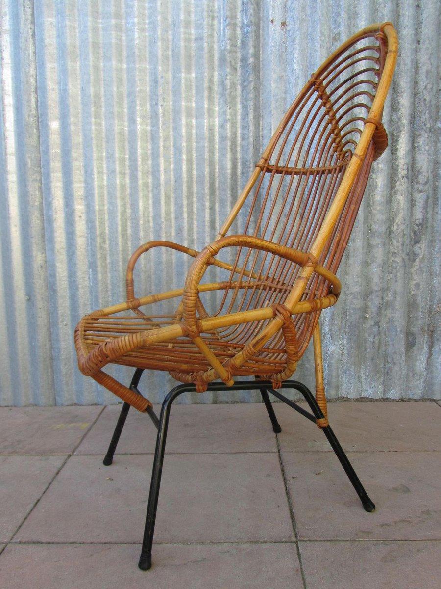 Vintage rattan high back chair by dirk van sliedregt for gebroeders jonkers for sale at pamono - Vat stoel ...
