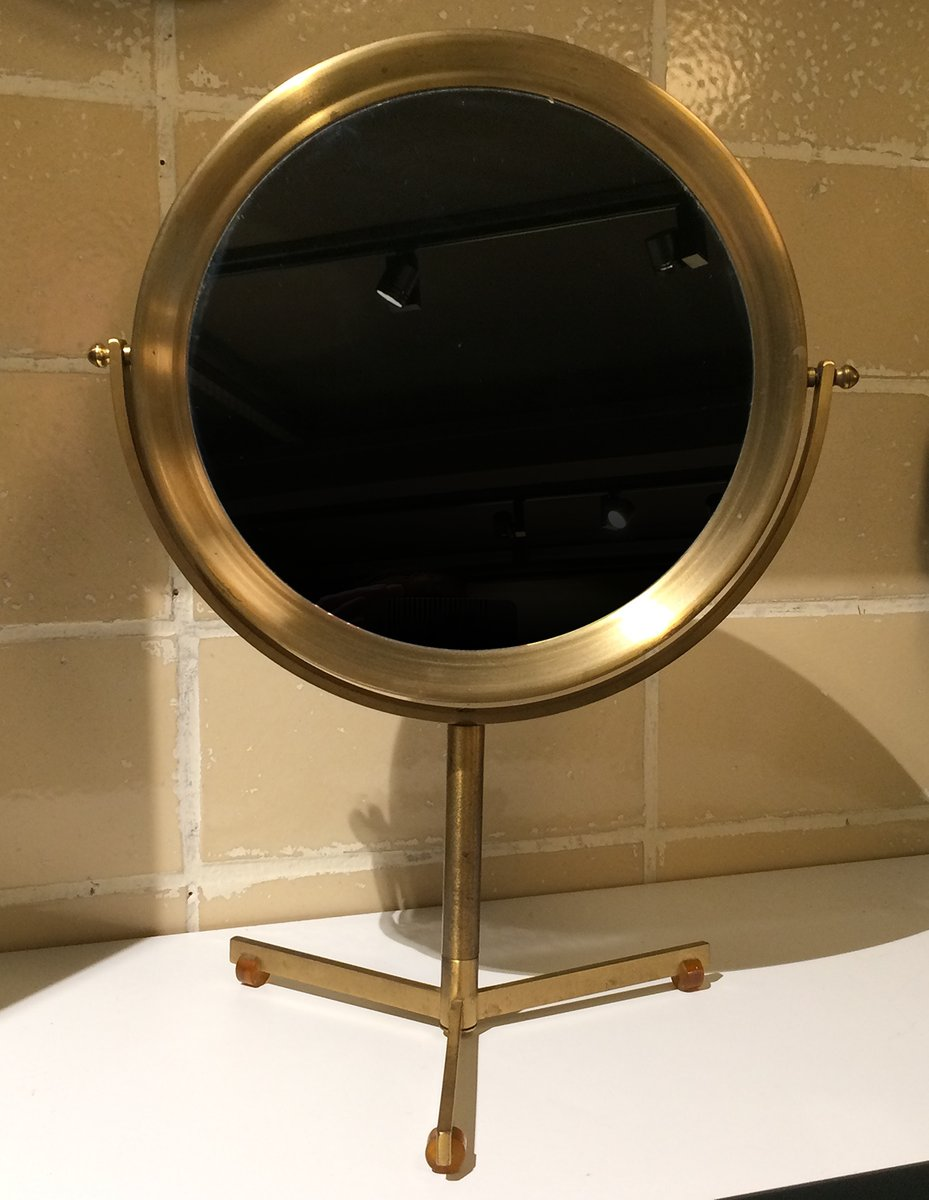 Vintage brass table mirror with bakelite feet for sale at for 7 foot mirror