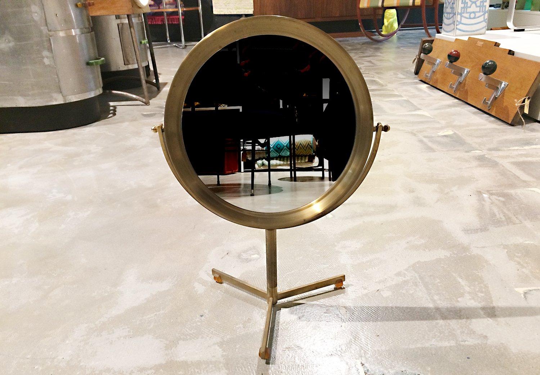 Miroir de table vintage en laiton avec pied en bak lite en for Miroir avec pied