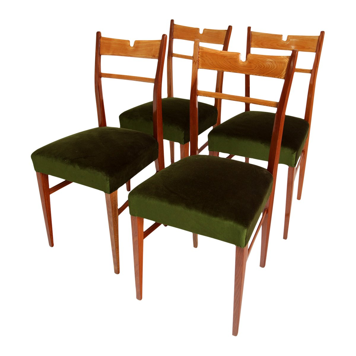 Italian wood green velvet dining chairs 1950s set of 4 for Wooden dining chairs for sale
