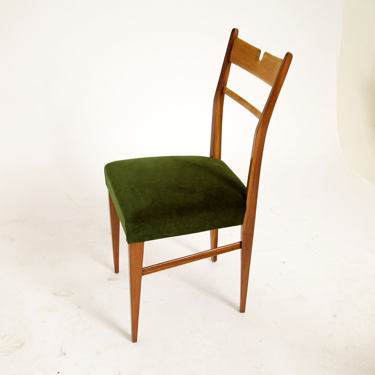 Italian Wood & Green Velvet Dining Chairs, 1950s, Set of 4 ...