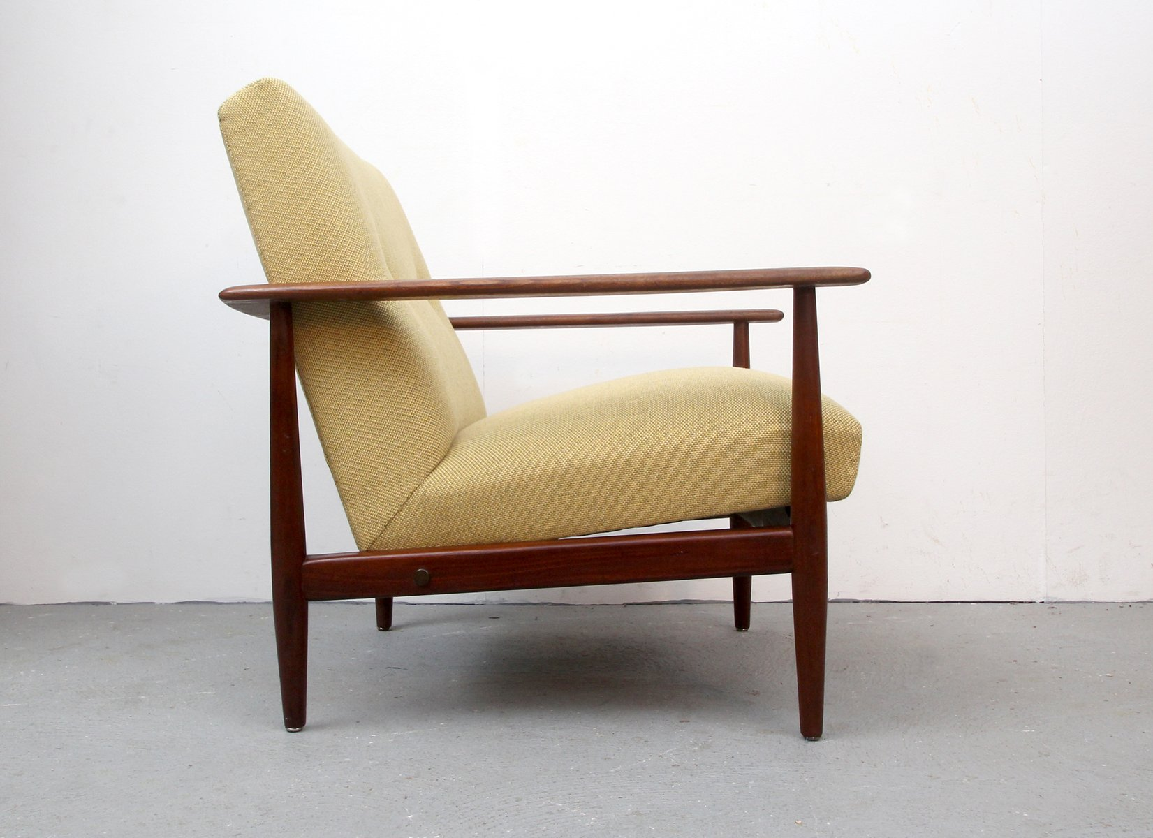 Vintage Teak Armchair with Yellow Upholstery 1960s for sale at Pamono