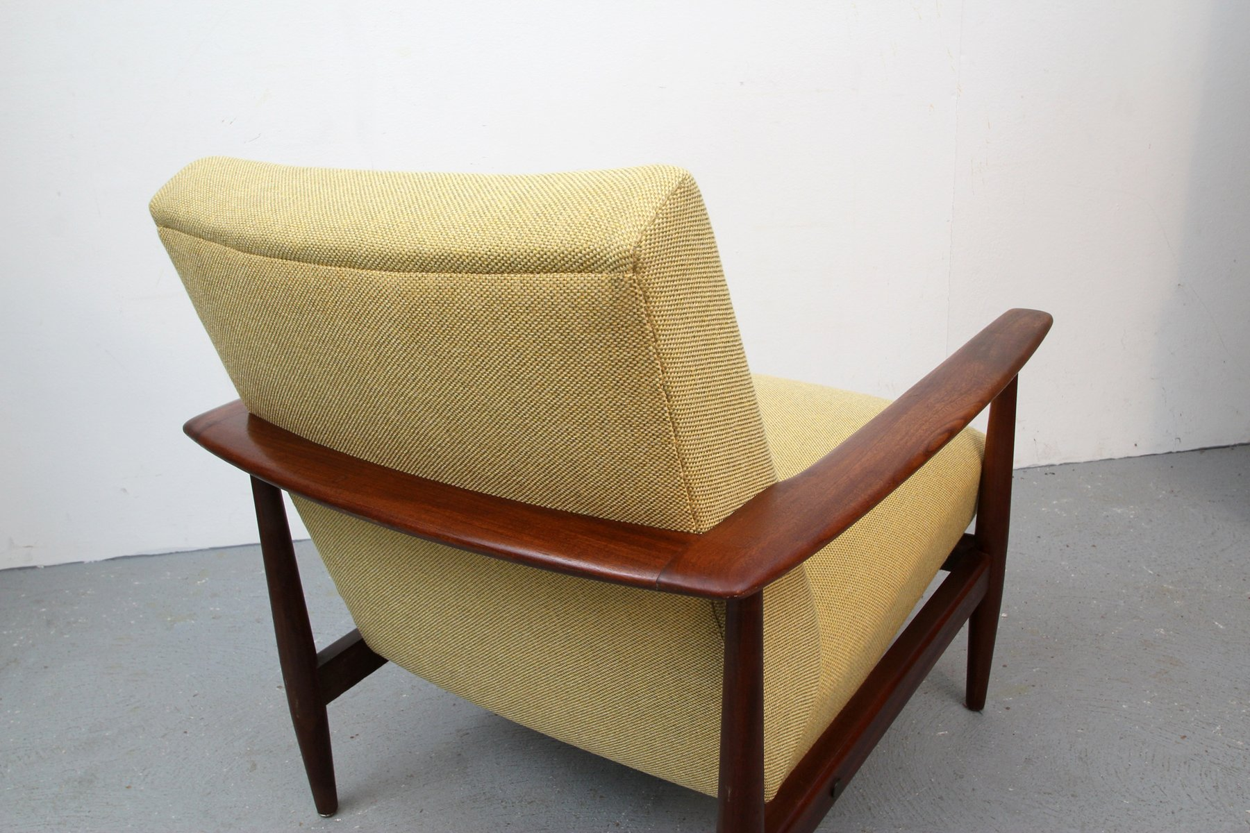 Armchair Upholstery Vintage Teak Armchair With Yellow Upholstery 1960s For Sale At Pamono