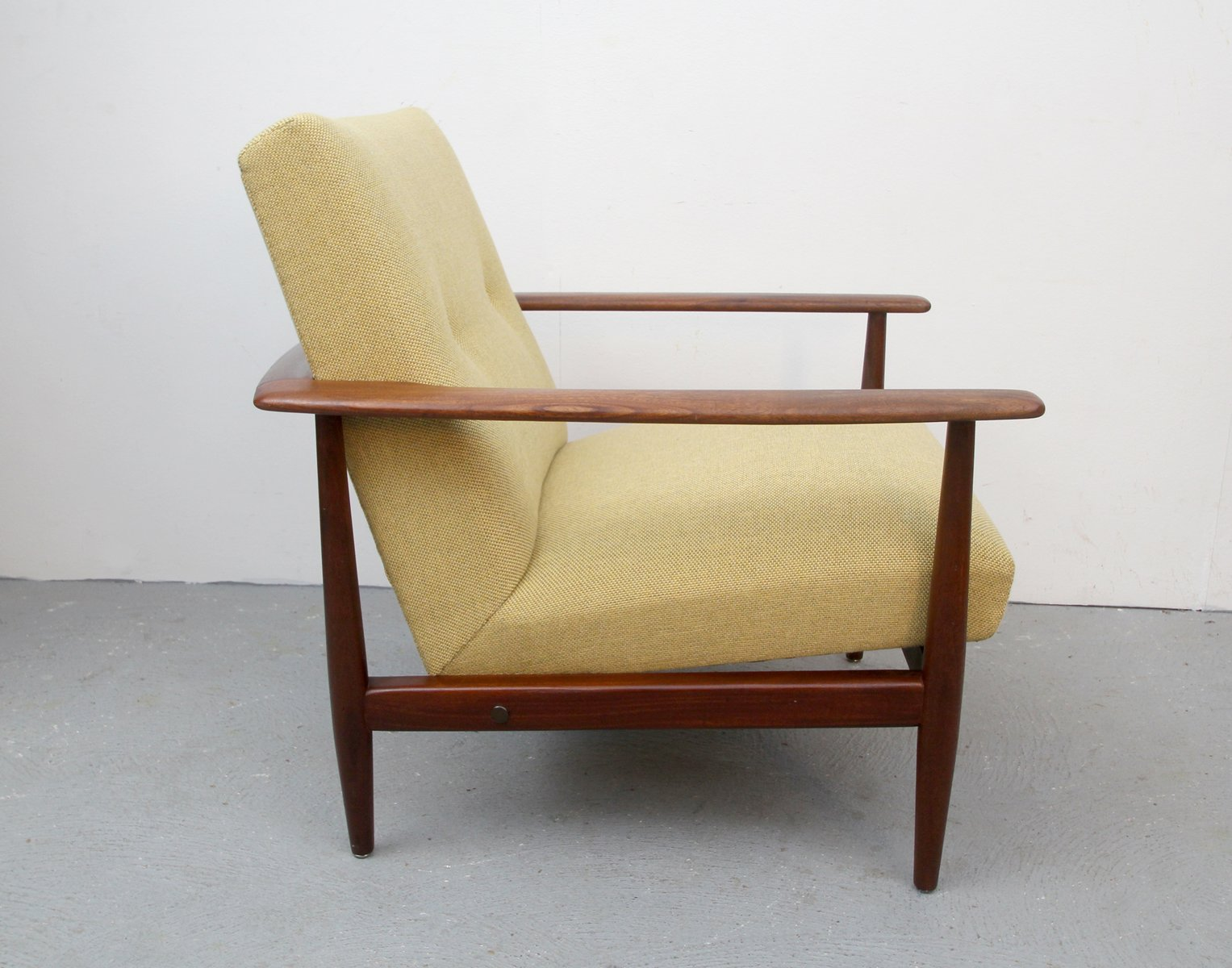 Antique upholstered rocking chair - Vintage Teak Armchair With Yellow Upholstery 1960s