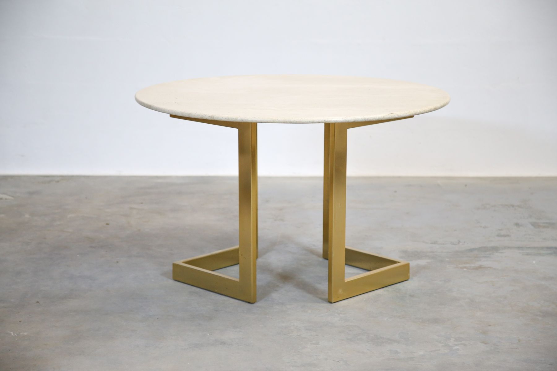Vintage Italian Travertine Round Dining Table 1970s for sale at