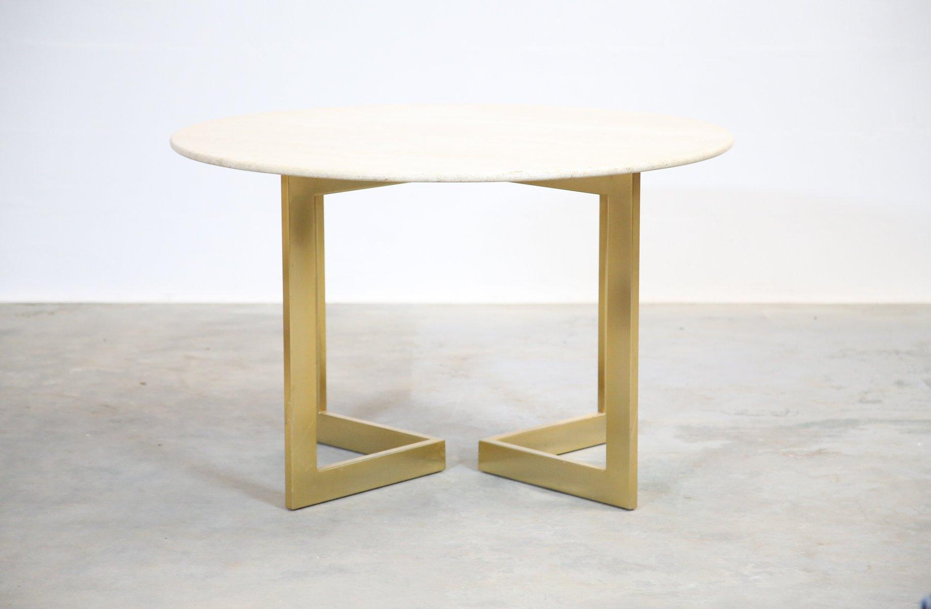 Vintage italian travertine round dining table 1970s for for Travertine dining table