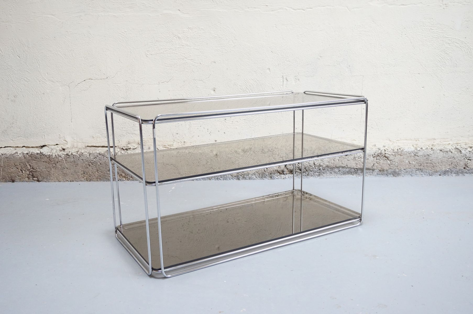 Chrome & Glass Coffee Table by Max Sauze for Isoc¨le 1970s for