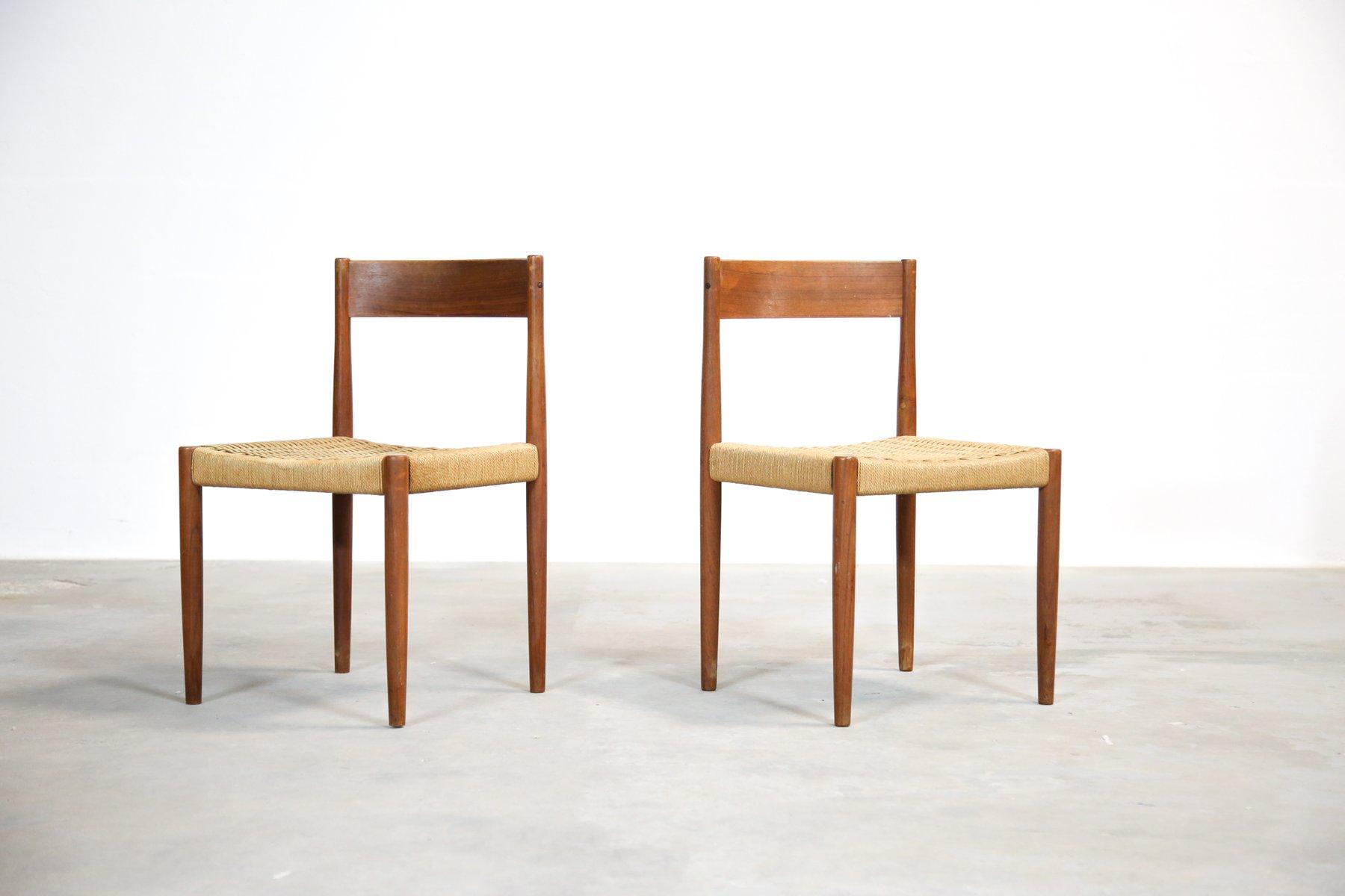 d nische teak st hle mit geflochtenen sitzen 1960er 2er. Black Bedroom Furniture Sets. Home Design Ideas