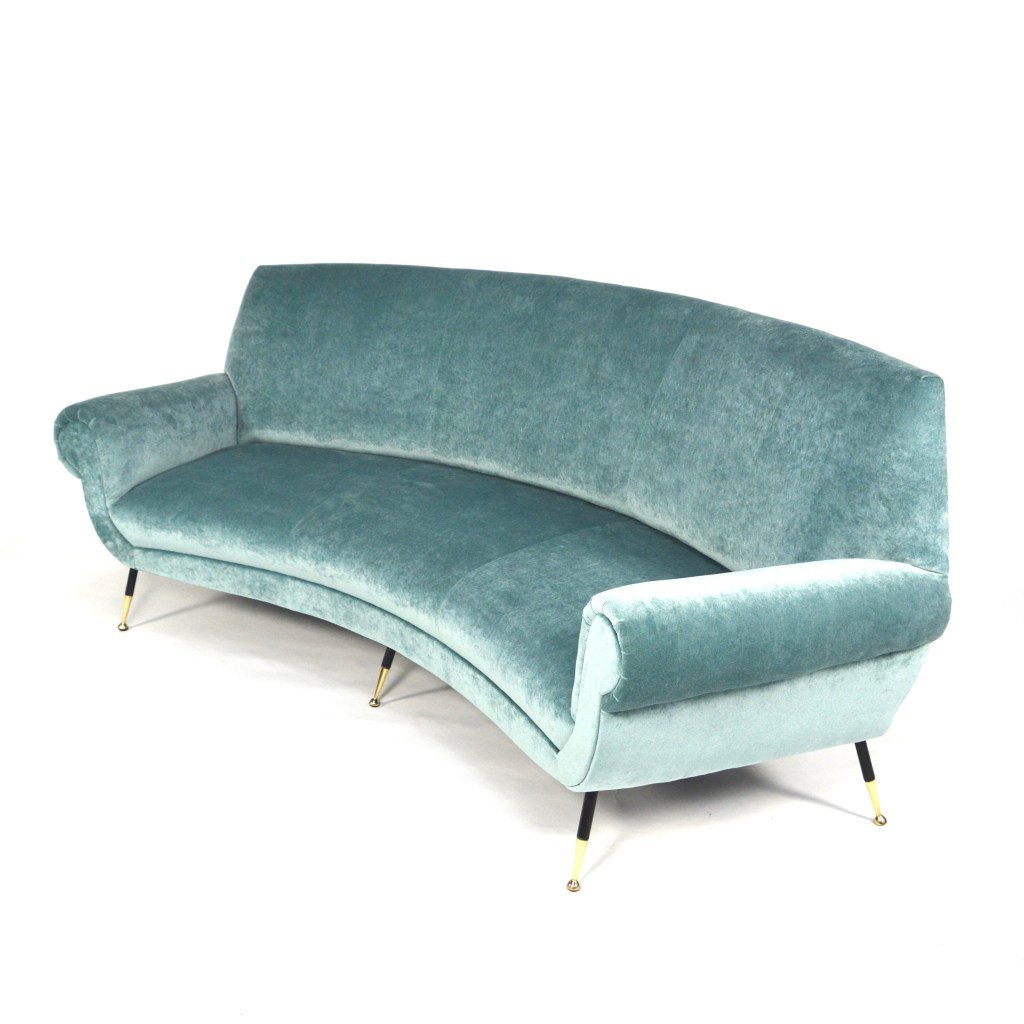 Curved sofa by gigi radice for minotti 1950s for sale at pamono Curved loveseat sofa