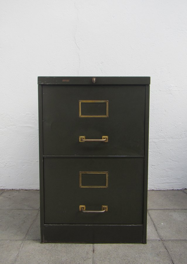 vintage olive green metal filing cabinet from roneo