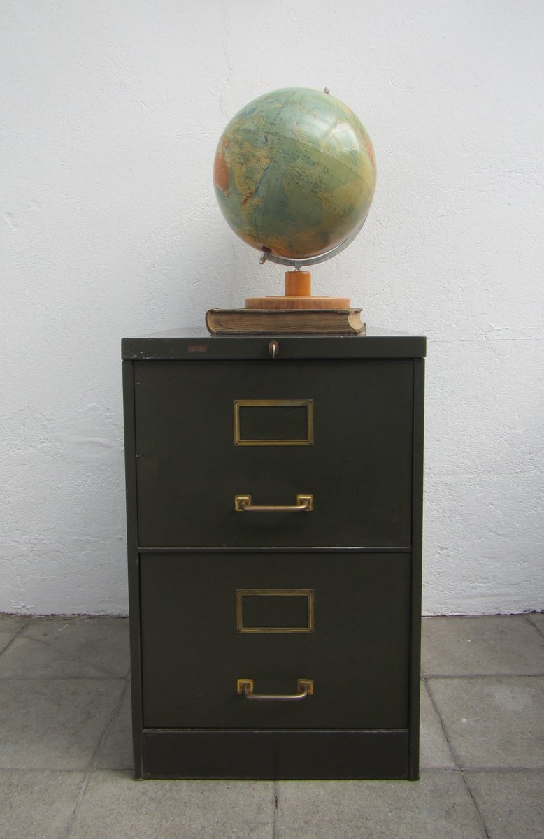 Green File Cabinet Vintage Olive Green Metal Filing Cabinet From Roneo For Sale At Pamono