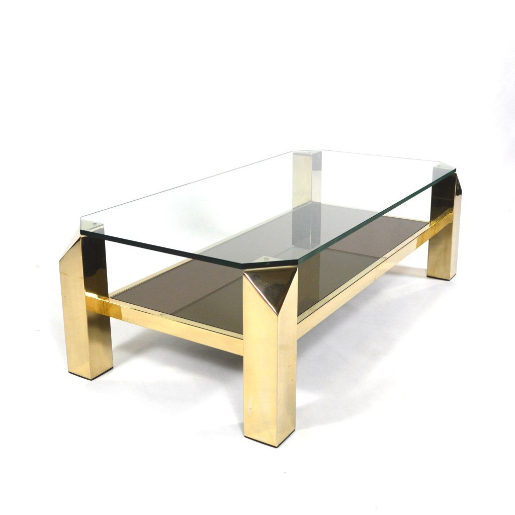 Gold Plated Coffee Table: 23-Karat Gold Plated Coffee Table From Belgochrom, 1970s
