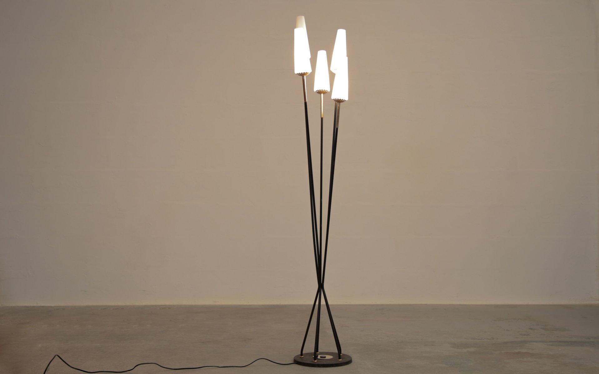 Vintage Italian Metal and Opaline Floor Lamp for sale at Pamono